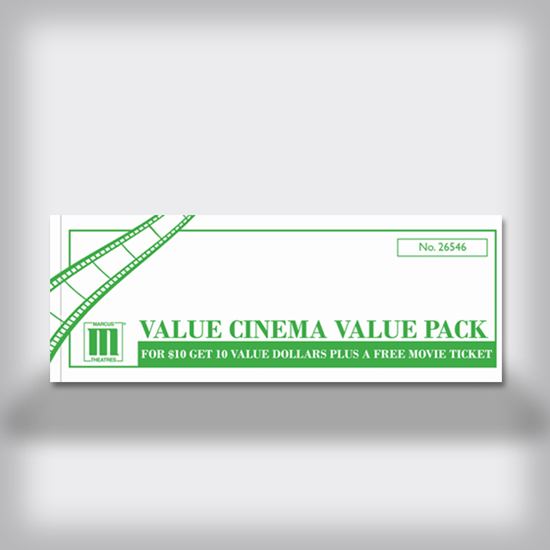 Free Movie Ticket with $10 Value Pack